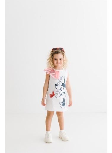 Minnie Mouse Lisanslı Çocuk Elbise 17374 Beyaz